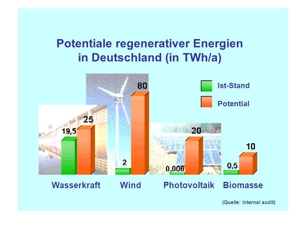 (Quelle: internal audit) Potentiale regenerativer Energien in Deutschland (in TWh/a) Wasserkraft Wind Photovoltaik Biomasse Ist-Stand Potential