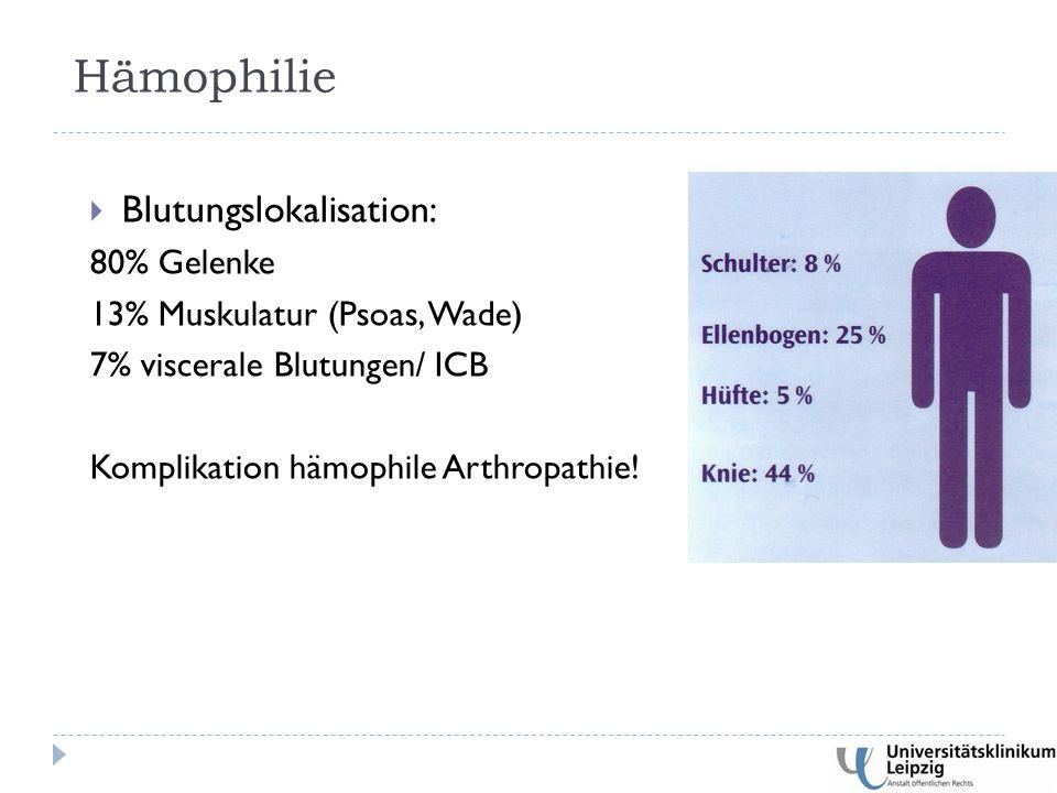  Blutungslokalisation: 80% Gelenke 13% Muskulatur (Psoas, Wade) 7% viscerale Blutungen/ ICB Komplikation hämophile Arthropathie.