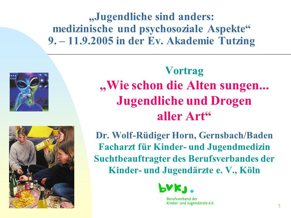 """1 """"Jugendliche sind anders: medizinische und psychosoziale Aspekte"""" 9. – 11.9.2005 in der Ev. Akademie Tutzing Vortrag """"Wie schon die Alten sungen..."""