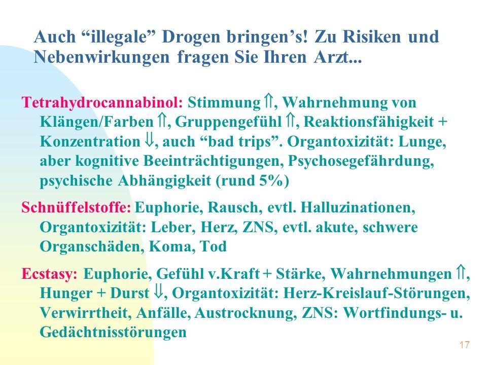 """17 Auch """"illegale"""" Drogen bringen's! Zu Risiken und Nebenwirkungen fragen Sie Ihren Arzt... Tetrahydrocannabinol: Stimmung , Wahrnehmung von Klängen/"""