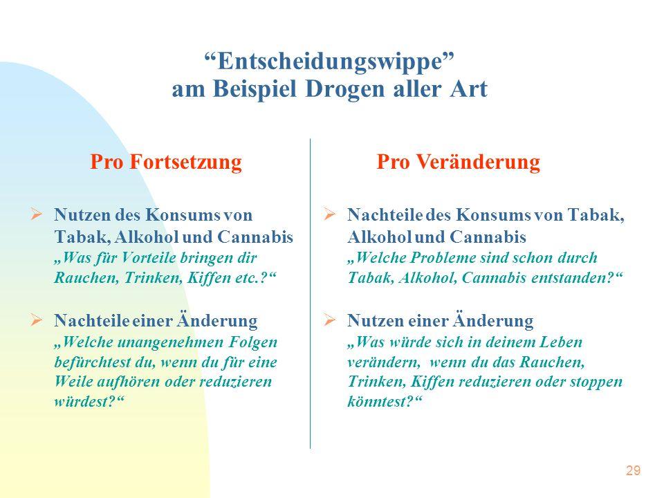 """29 """"Entscheidungswippe"""" am Beispiel Drogen aller Art  Nutzen des Konsums von Tabak, Alkohol und Cannabis """"Was für Vorteile bringen dir Rauchen, Trink"""