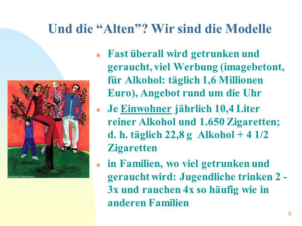 """8 Und die """"Alten""""? Wir sind die Modelle n Fast überall wird getrunken und geraucht, viel Werbung (imagebetont, für Alkohol: täglich 1,6 Millionen Euro"""