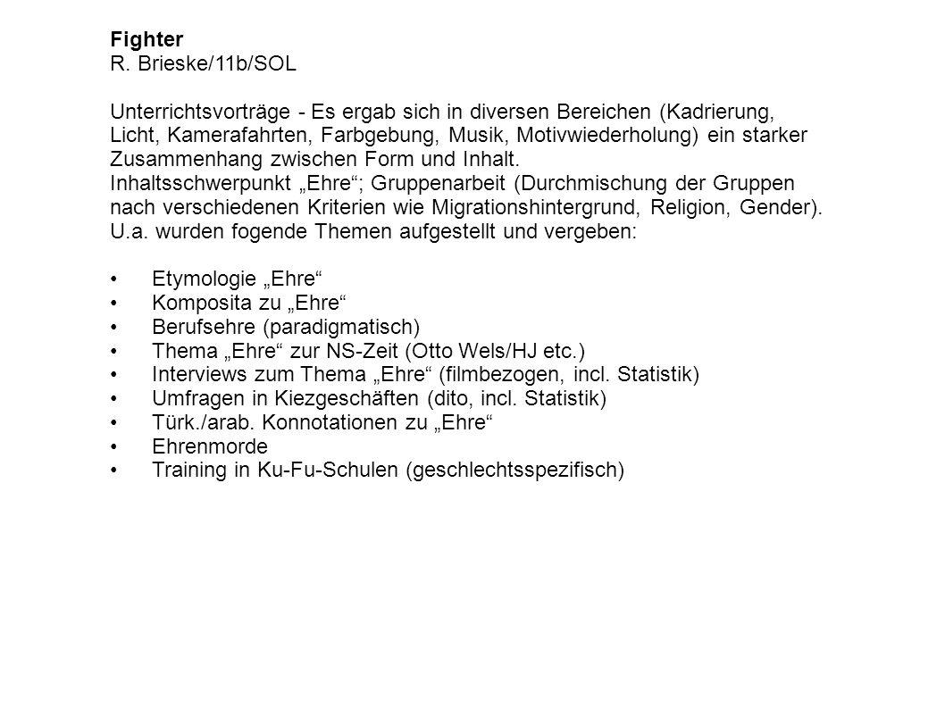 Fighter R. Brieske/11b/SOL Unterrichtsvorträge - Es ergab sich in diversen Bereichen (Kadrierung, Licht, Kamerafahrten, Farbgebung, Musik, Motivwieder