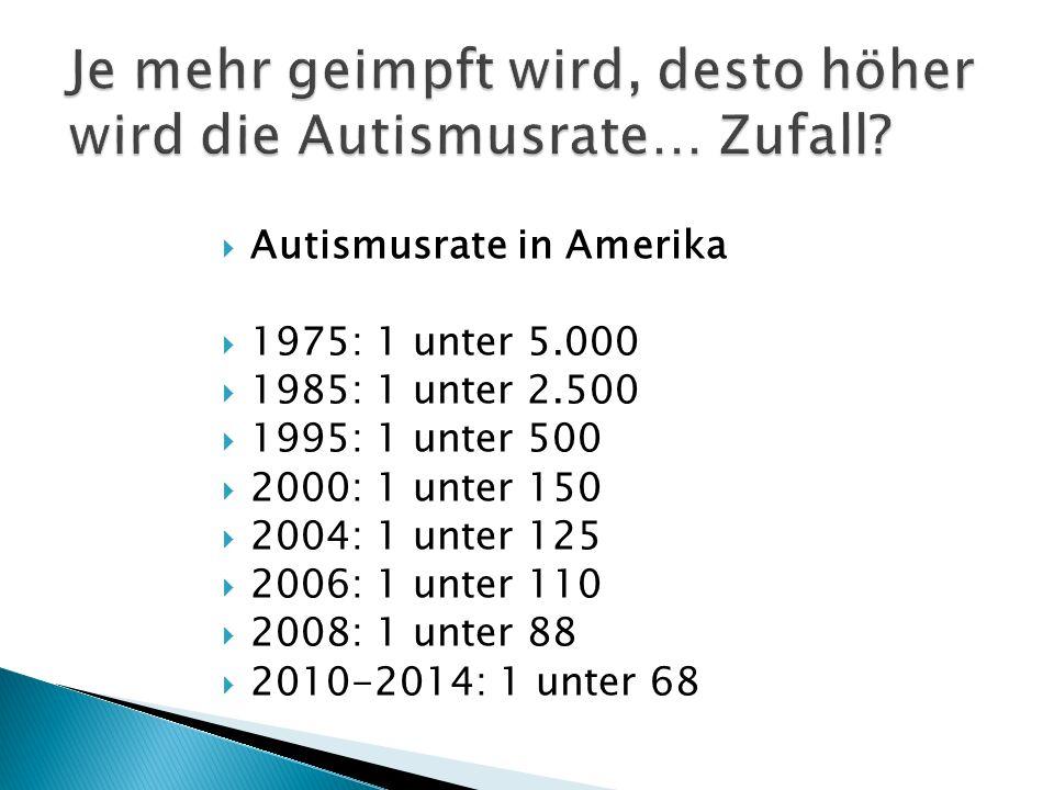  Autismusrate in Amerika  1975: 1 unter 5.000  1985: 1 unter 2.500  1995: 1 unter 500  2000: 1 unter 150  2004: 1 unter 125  2006: 1 unter 110