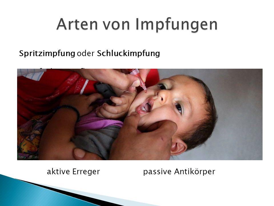 Spritzimpfung oder Schluckimpfung  1- fach => Influenza  3- fach => Masern, Mumps, Röteln (MMR)  6- fach => Diphtherie, Tetanus, Polio, Pertussis,