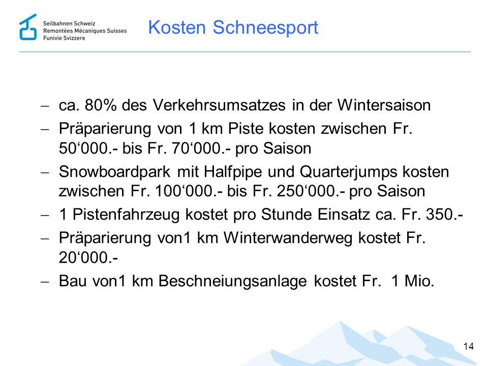 Kosten Schneesport  ca. 80% des Verkehrsumsatzes in der Wintersaison  Präparierung von 1 km Piste kosten zwischen Fr. 50'000.- bis Fr. 70'000.- pro