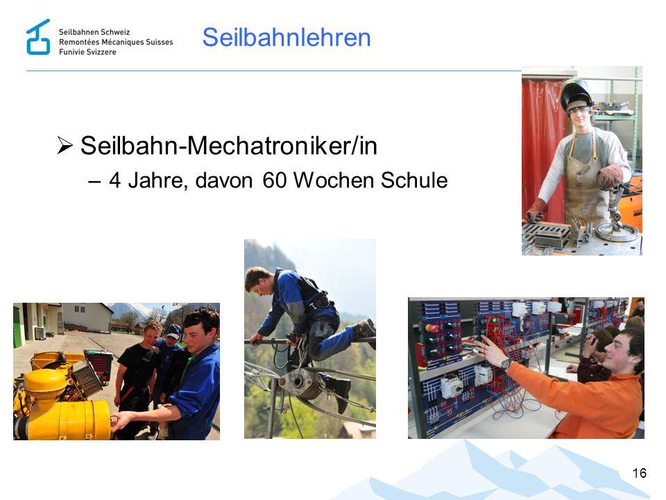 Seilbahnlehren  Seilbahn-Mechatroniker/in –4 Jahre, davon 60 Wochen Schule 16