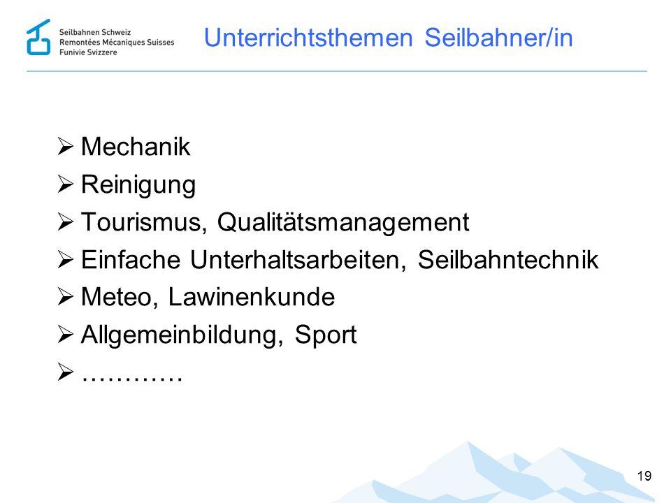 Unterrichtsthemen Seilbahner/in  Mechanik  Reinigung  Tourismus, Qualitätsmanagement  Einfache Unterhaltsarbeiten, Seilbahntechnik  Meteo, Lawine