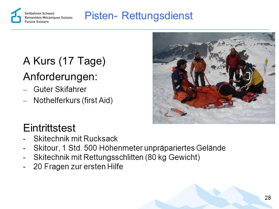 Pisten- Rettungsdienst A Kurs (17 Tage) Anforderungen:  Guter Skifahrer  Nothelferkurs (first Aid) Eintrittstest -Skitechnik mit Rucksack -Skitour,