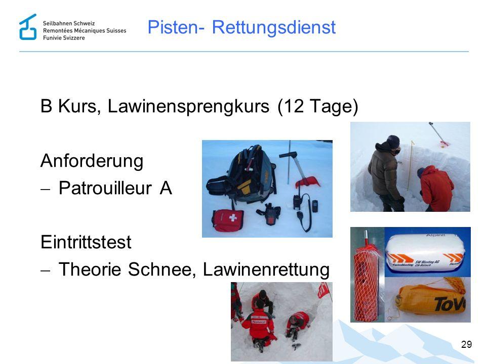 Pisten- Rettungsdienst B Kurs, Lawinensprengkurs (12 Tage) Anforderung  Patrouilleur A Eintrittstest  Theorie Schnee, Lawinenrettung 29