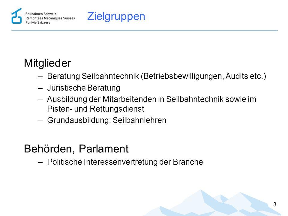 Zielgruppen Mitglieder –Beratung Seilbahntechnik (Betriebsbewilligungen, Audits etc.) –Juristische Beratung –Ausbildung der Mitarbeitenden in Seilbahn