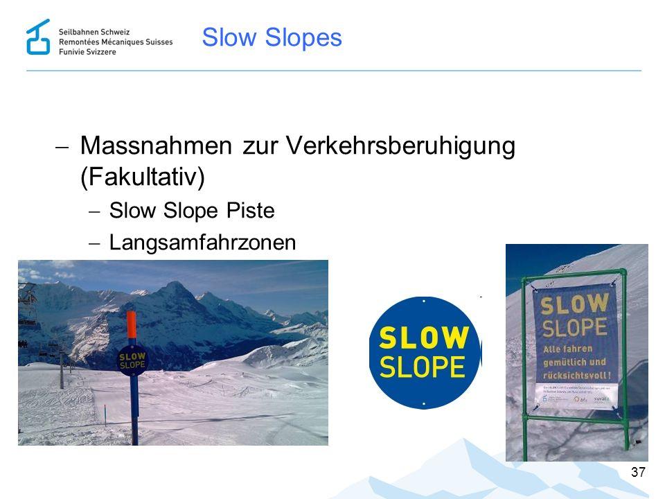 Slow Slopes  Massnahmen zur Verkehrsberuhigung (Fakultativ)  Slow Slope Piste  Langsamfahrzonen 37