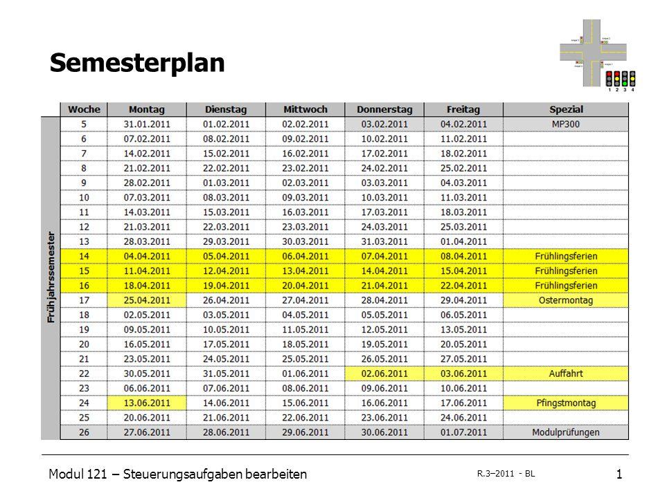 Modul 121 – Steuerungsaufgaben bearbeiten1 R.3–2011 - BL Semesterplan