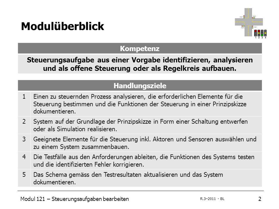 Modul 121 – Steuerungsaufgaben bearbeiten2 R.3–2011 - BL Modulüberblick Kompetenz Steuerungsaufgabe aus einer Vorgabe identifizieren, analysieren und als offene Steuerung oder als Regelkreis aufbauen.