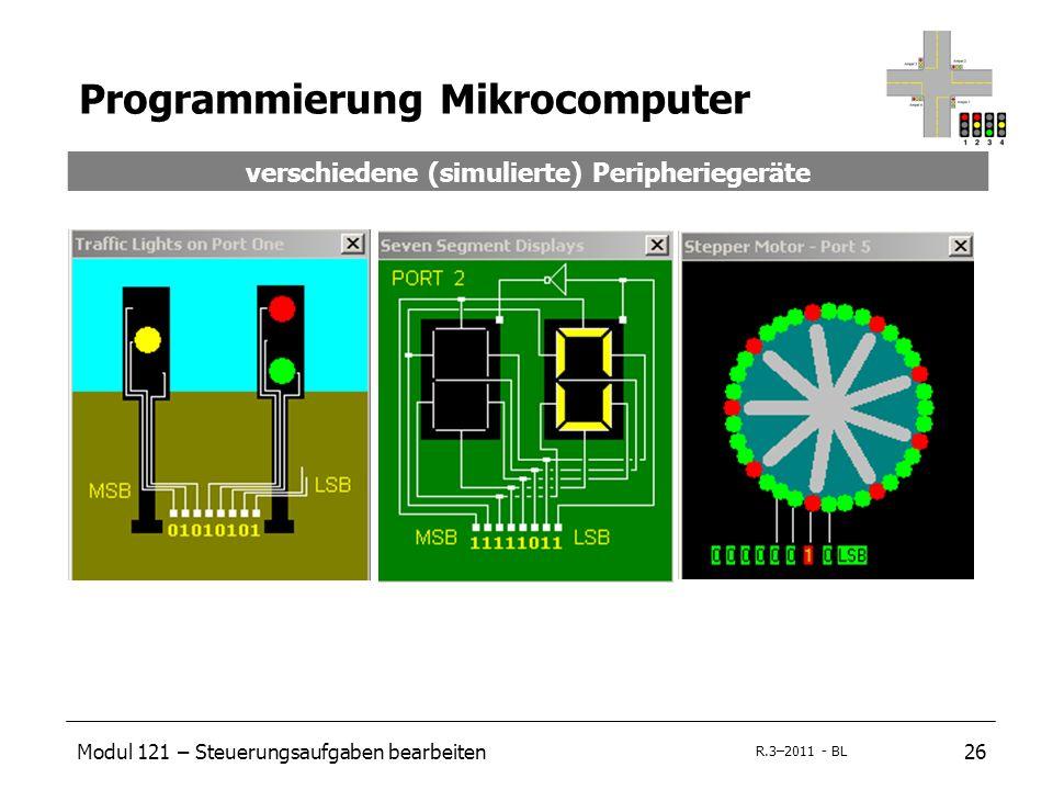 Modul 121 – Steuerungsaufgaben bearbeiten26 R.3–2011 - BL Programmierung Mikrocomputer verschiedene (simulierte) Peripheriegeräte
