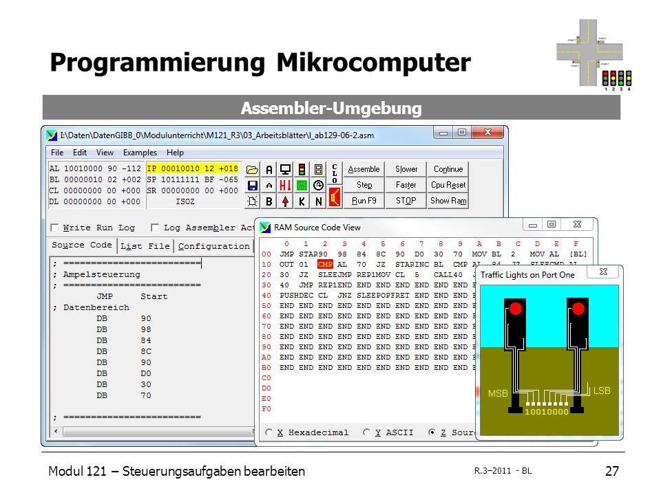 Modul 121 – Steuerungsaufgaben bearbeiten27 R.3–2011 - BL Programmierung Mikrocomputer Assembler-Umgebung