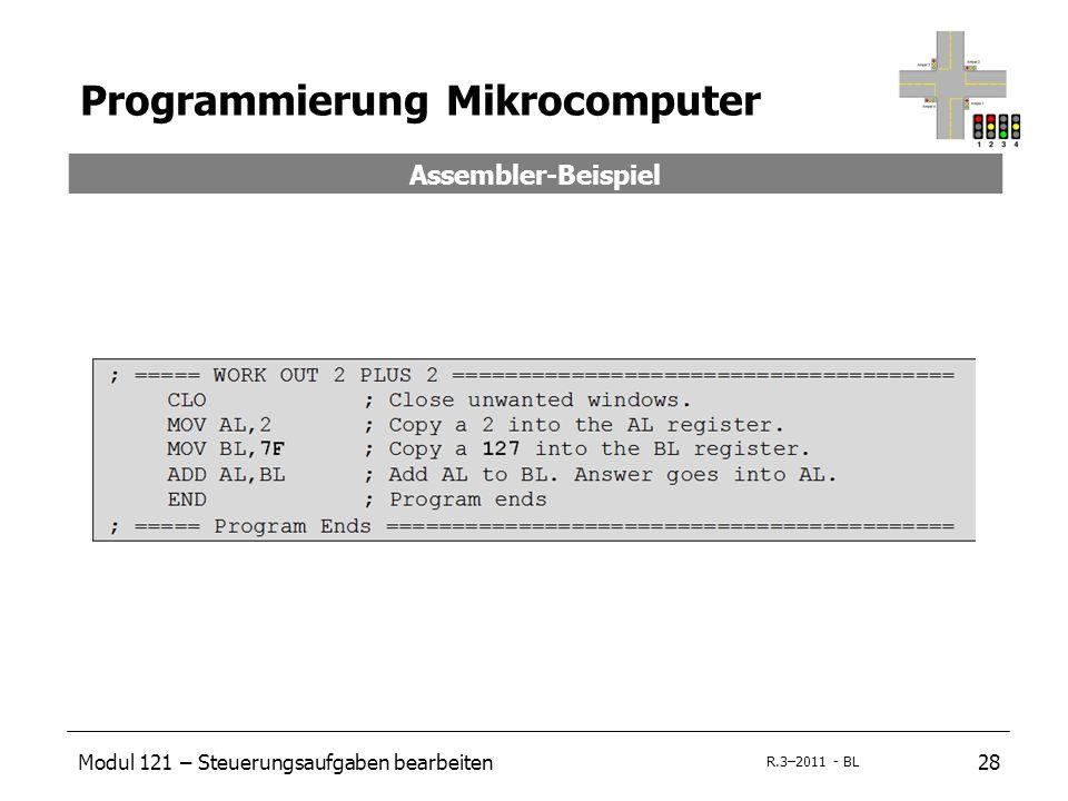 Modul 121 – Steuerungsaufgaben bearbeiten28 R.3–2011 - BL Programmierung Mikrocomputer Assembler-Beispiel