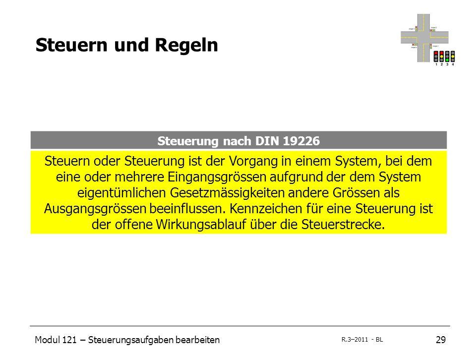 Modul 121 – Steuerungsaufgaben bearbeiten29 R.3–2011 - BL Steuern und Regeln Steuerung nach DIN 19226 Steuern oder Steuerung ist der Vorgang in einem System, bei dem eine oder mehrere Eingangsgrössen aufgrund der dem System eigentümlichen Gesetzmässigkeiten andere Grössen als Ausgangsgrössen beeinflussen.