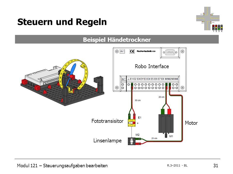 Modul 121 – Steuerungsaufgaben bearbeiten31 R.3–2011 - BL Steuern und Regeln Beispiel Händetrockner Fototransisitor Linsenlampe Motor Robo Interface
