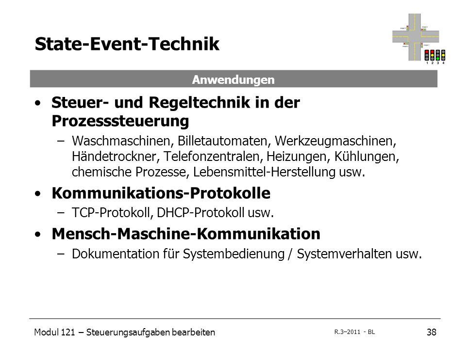Modul 121 – Steuerungsaufgaben bearbeiten38 R.3–2011 - BL Steuer- und Regeltechnik in der Prozesssteuerung –Waschmaschinen, Billetautomaten, Werkzeugm