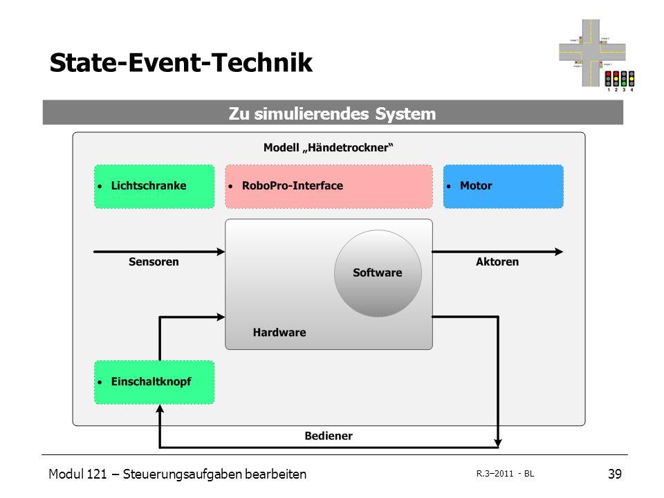 Modul 121 – Steuerungsaufgaben bearbeiten39 R.3–2011 - BL State-Event-Technik Zu simulierendes System