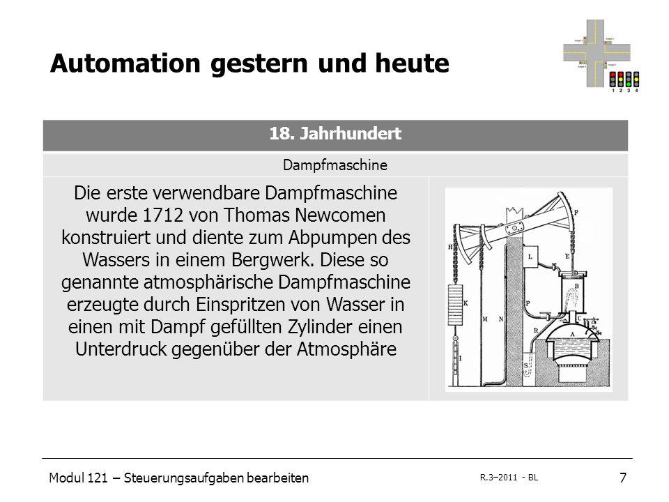 Modul 121 – Steuerungsaufgaben bearbeiten7 R.3–2011 - BL Automation gestern und heute 18. Jahrhundert Dampfmaschine Die erste verwendbare Dampfmaschin