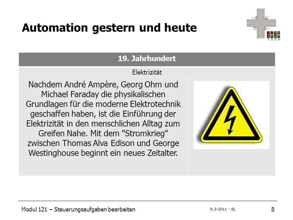 Modul 121 – Steuerungsaufgaben bearbeiten8 R.3–2011 - BL Automation gestern und heute 19. Jahrhundert Elektrizität Nachdem André Ampère, Georg Ohm und