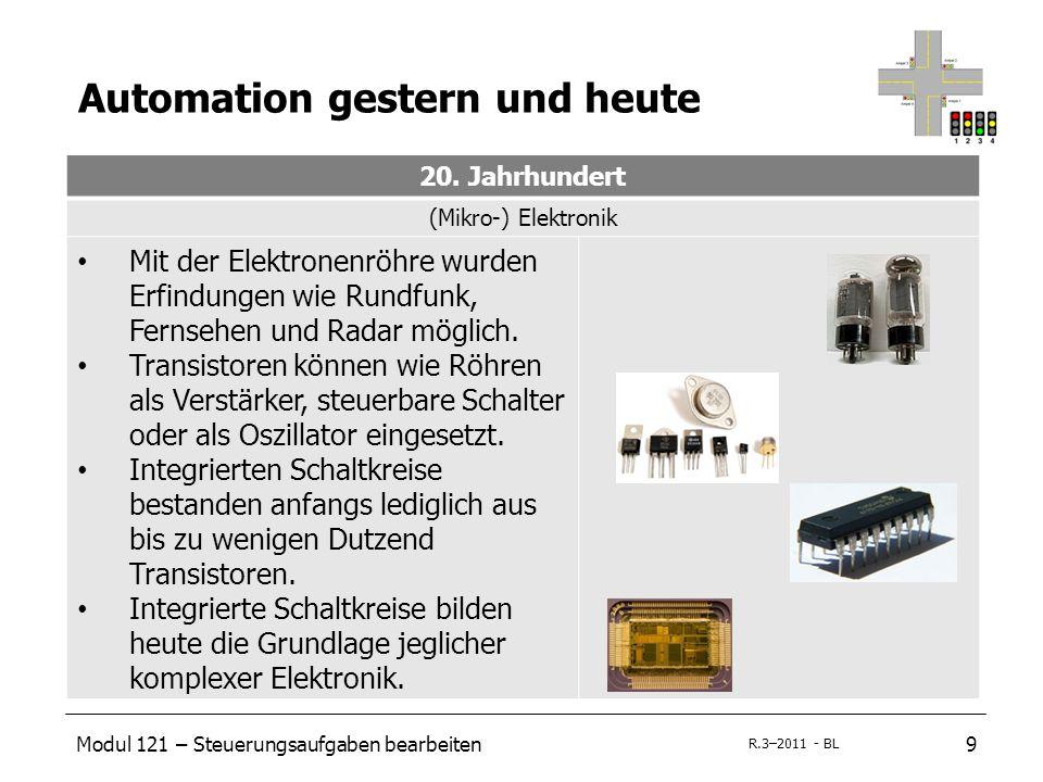 Modul 121 – Steuerungsaufgaben bearbeiten20 R.3–2011 - BL Mikrocomputersystem Eingabe/Ausgabe (I/O-System) Eingabe - SensorenAusgabe - Aktoren Am Eingang eines Mikrocomputers werden Sensoren für die Informationsaufnahme benötigt.