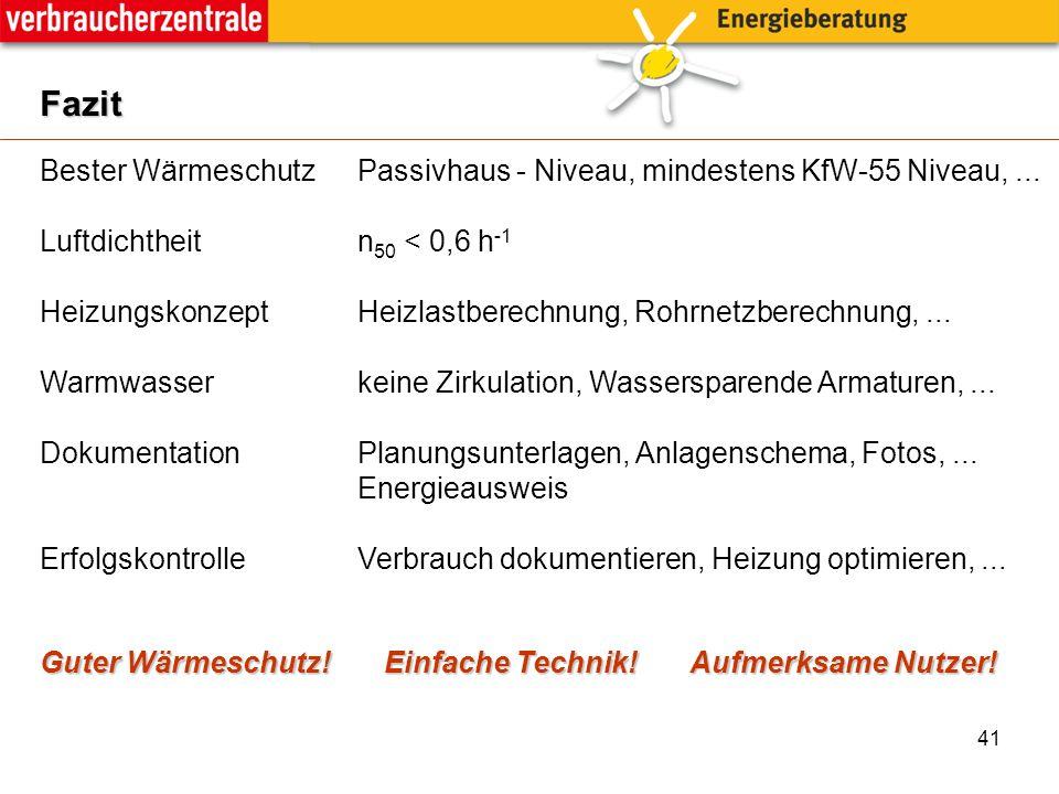 41 Fazit Bester Wärmeschutz Passivhaus - Niveau, mindestens KfW-55 Niveau,...