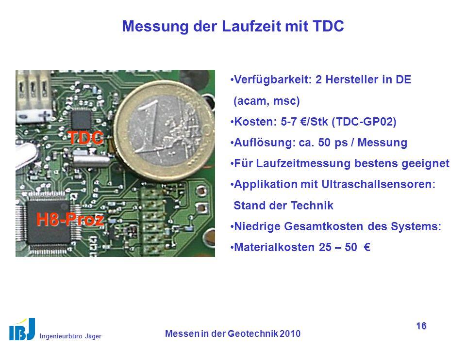 Ingenieurbüro Jäger Messen in der Geotechnik 2010 16 Messung der Laufzeit mit TDC Verfügbarkeit: 2 Hersteller in DE (acam, msc) Kosten: 5-7 €/Stk (TDC-GP02) Auflösung: ca.