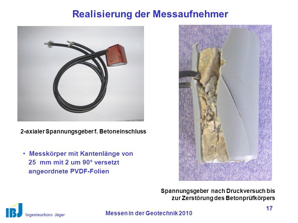 Ingenieurbüro Jäger Messen in der Geotechnik 2010 17 Realisierung der Messaufnehmer 2-axialer Spannungsgeber f.