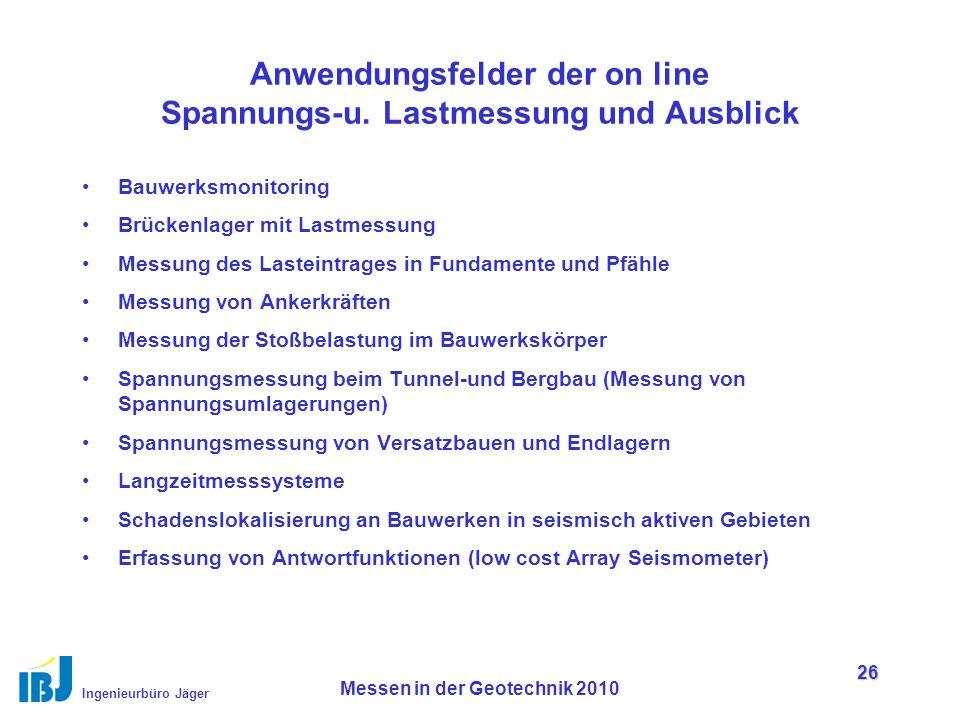 Ingenieurbüro Jäger Messen in der Geotechnik 2010 26 Anwendungsfelder der on line Spannungs-u.