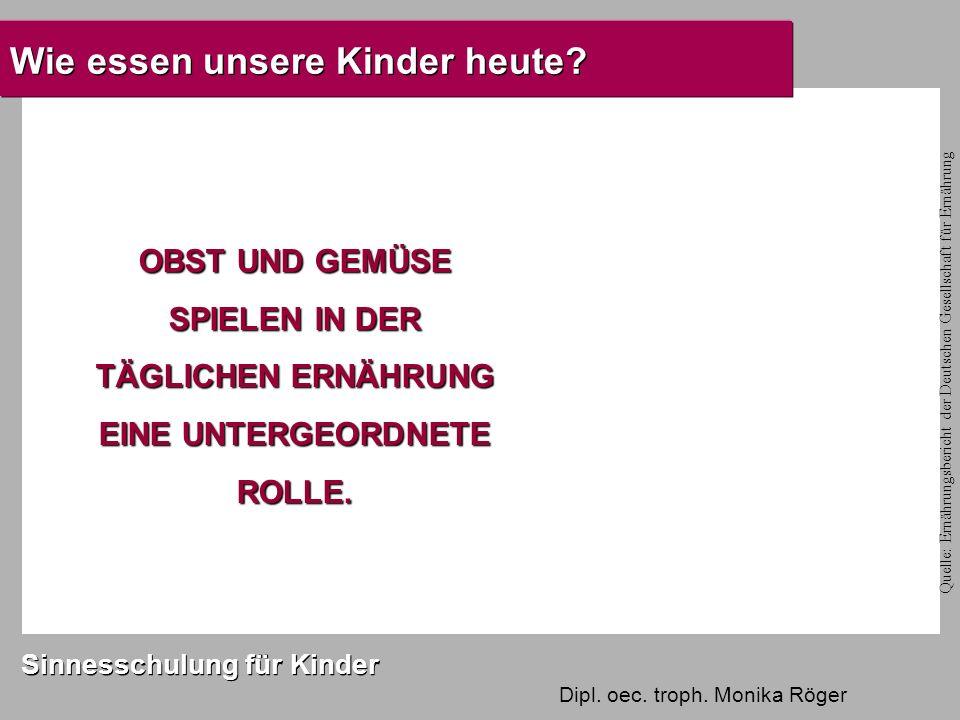 Dipl. oec. troph. Monika Röger Sinnesschulung für Kinder Wie essen unsere Kinder heute.