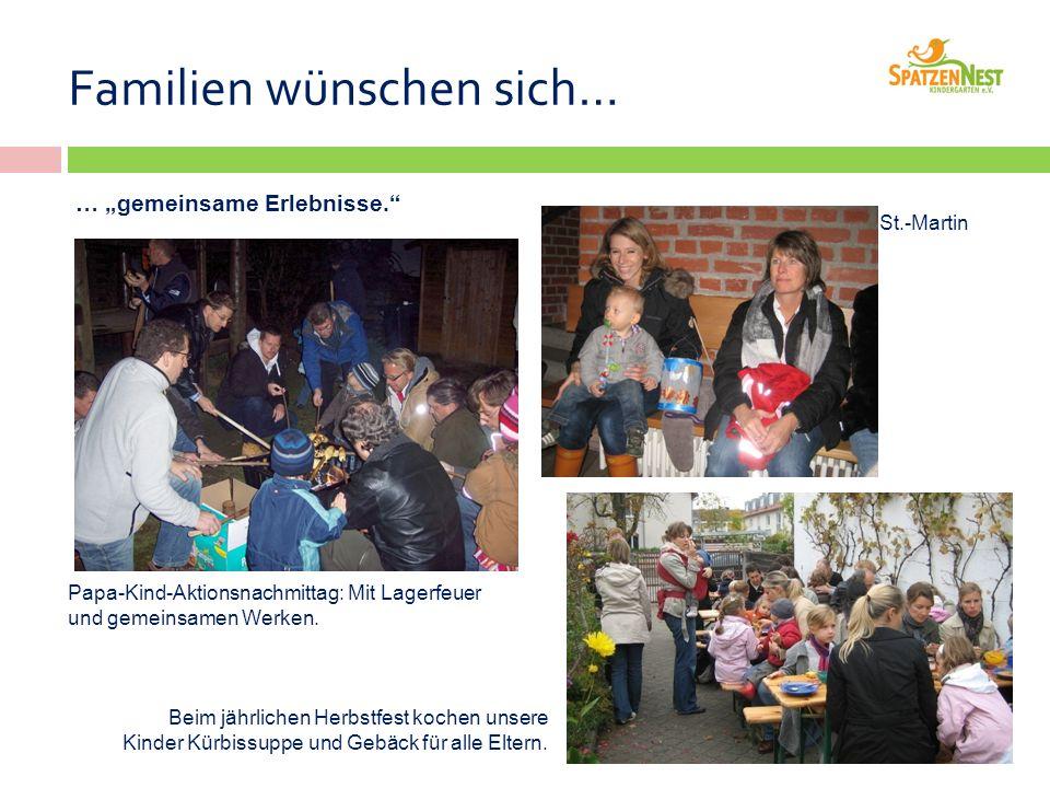 """Familien wünschen sich… … """"gemeinsame Erlebnisse. Papa-Kind-Aktionsnachmittag: Mit Lagerfeuer und gemeinsamen Werken."""
