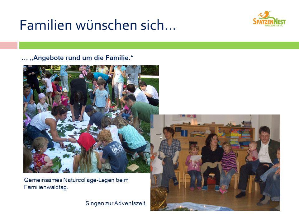 """Familien wünschen sich… … """"Angebote rund um die Familie. Gemeinsames Naturcollage-Legen beim Familienwaldtag."""