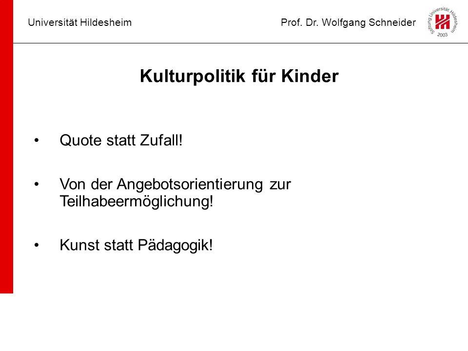 Universität HildesheimProf. Dr. Wolfgang Schneider Kulturpolitik für Kinder Quote statt Zufall! Von der Angebotsorientierung zur Teilhabeermöglichung!
