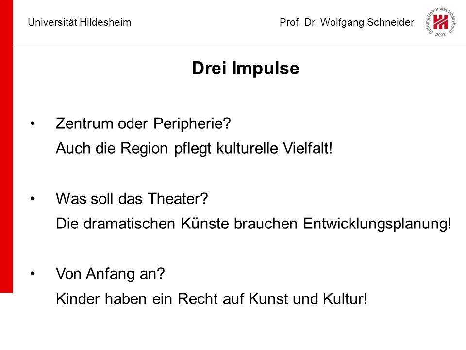 Universität HildesheimProf. Dr. Wolfgang Schneider Drei Impulse Zentrum oder Peripherie? Auch die Region pflegt kulturelle Vielfalt! Was soll das Thea