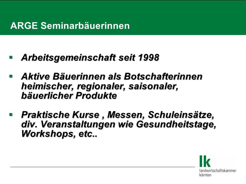 ARGE Seminarbäuerinnen  Arbeitsgemeinschaft seit 1998  Aktive Bäuerinnen als Botschafterinnen heimischer, regionaler, saisonaler, bäuerlicher Produkte  Praktische Kurse, Messen, Schuleinsätze, div.
