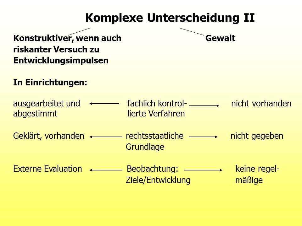 Komplexe Unterscheidung II Konstruktiver, wenn auch Gewalt riskanter Versuch zu Entwicklungsimpulsen In Einrichtungen: ausgearbeitet und fachlich kont