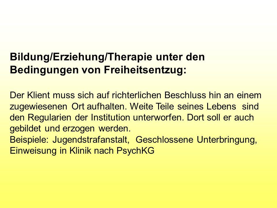 Bildung/Erziehung/Therapie unter den Bedingungen von Freiheitsentzug: Der Klient muss sich auf richterlichen Beschluss hin an einem zugewiesenen Ort aufhalten.