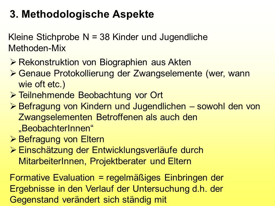 3. Methodologische Aspekte Kleine Stichprobe N = 38 Kinder und Jugendliche Methoden-Mix  Rekonstruktion von Biographien aus Akten  Genaue Protokolli