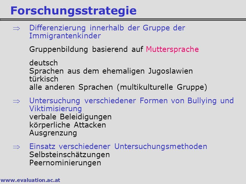 www.evaluation.ac.at Forschungsstrategie Differenzierung innerhalb der Gruppe der Immigrantenkinder Gruppenbildung basierend auf Muttersprache deutsc