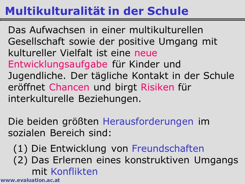 www.evaluation.ac.at Multikulturalität in der Schule Das Aufwachsen in einer multikulturellen Gesellschaft sowie der positive Umgang mit kultureller V