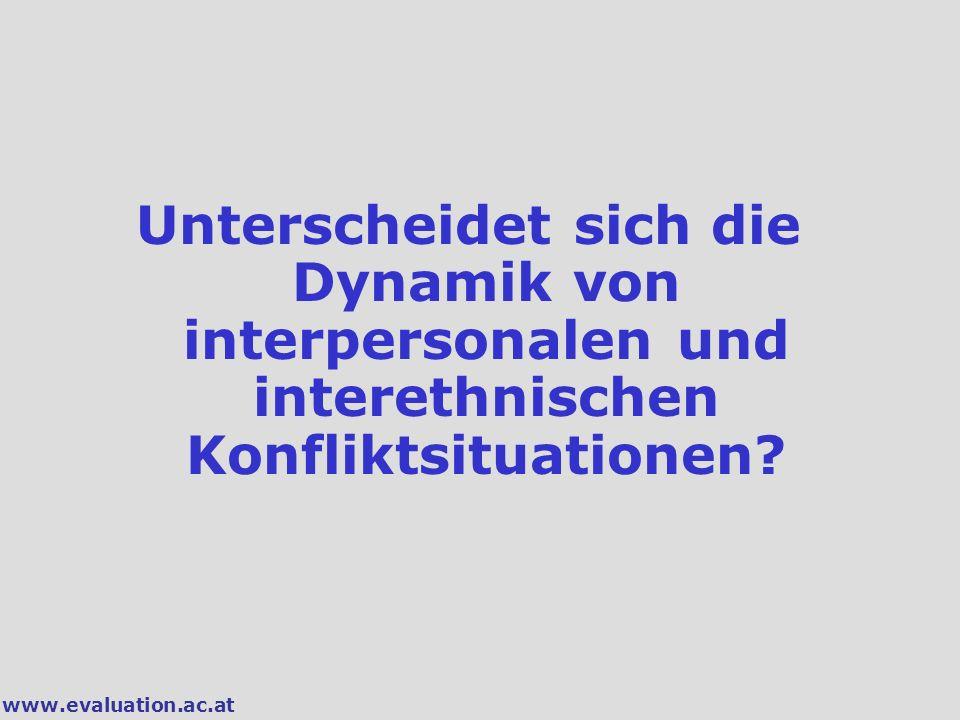 www.evaluation.ac.at Unterscheidet sich die Dynamik von interpersonalen und interethnischen Konfliktsituationen?