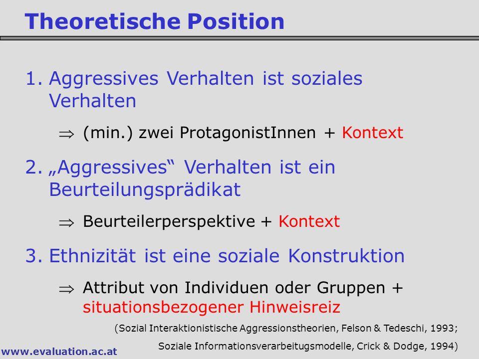 """www.evaluation.ac.at Theoretische Position 1.Aggressives Verhalten ist soziales Verhalten (min.) zwei ProtagonistInnen + Kontext 2.""""Aggressives"""" Verh"""
