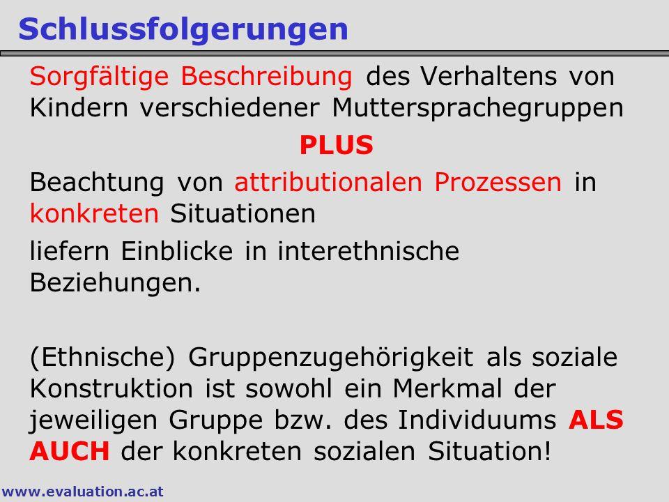 www.evaluation.ac.at Schlussfolgerungen Sorgfältige Beschreibung des Verhaltens von Kindern verschiedener Muttersprachegruppen PLUS Beachtung von attr