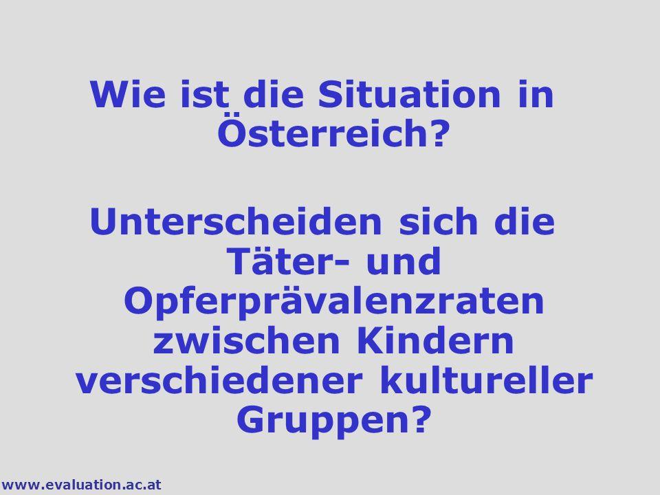 www.evaluation.ac.at Wie ist die Situation in Österreich? Unterscheiden sich die Täter- und Opferprävalenzraten zwischen Kindern verschiedener kulture