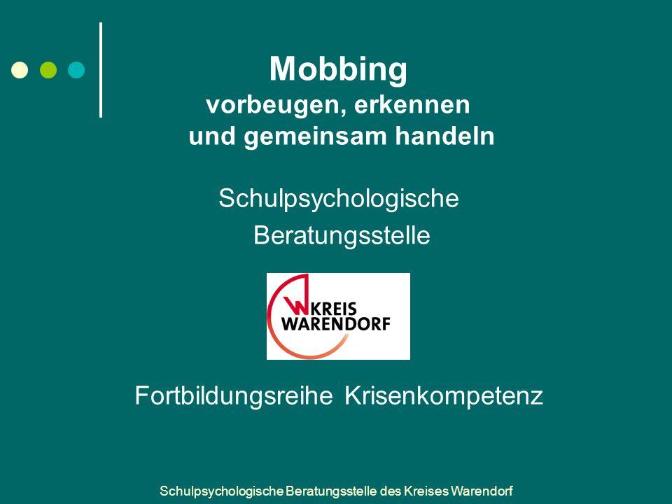 Schulpsychologische Beratungsstelle des Kreises Warendorf Rolle der Zuschauer Zuschauer müssen wissen, … … dass ihr Verhalten Mobbing fördern kann, z.B.