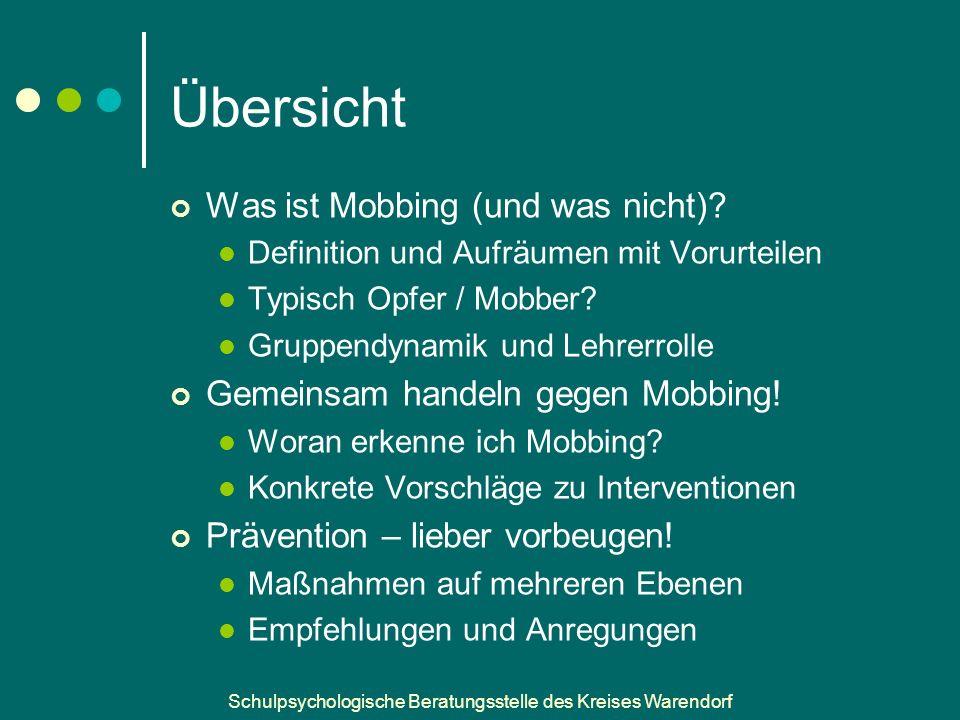 Schulpsychologische Beratungsstelle des Kreises Warendorf Daten und Fakten 5% - 54% der Schüler sehen sich als Mobbing- Betroffene….