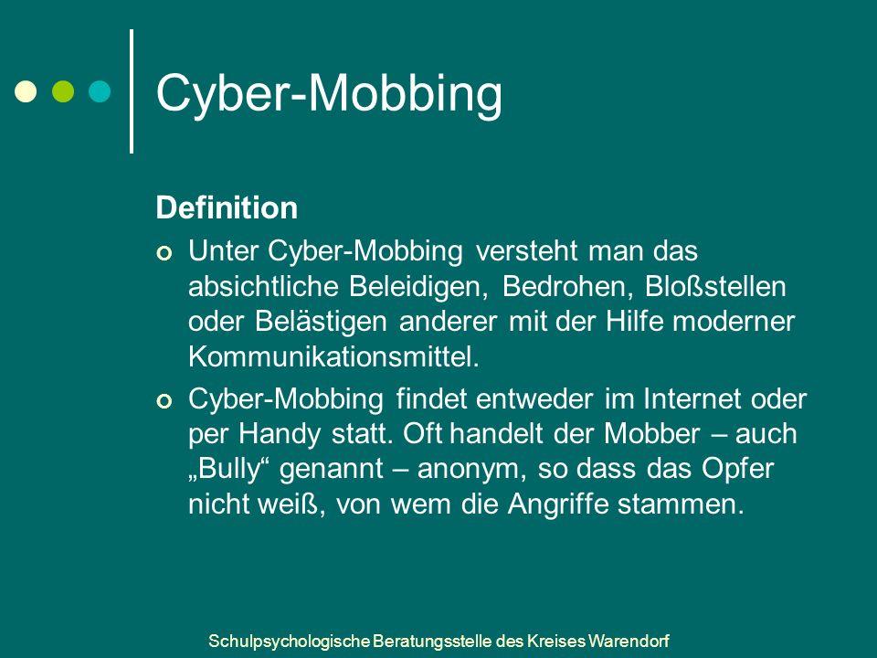 Schulpsychologische Beratungsstelle des Kreises Warendorf Cyber-Mobbing Definition Unter Cyber-Mobbing versteht man das absichtliche Beleidigen, Bedrohen, Bloßstellen oder Belästigen anderer mit der Hilfe moderner Kommunikationsmittel.